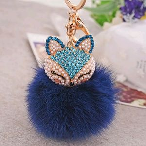 Accessories - Bling kitty bag charm  -Navy